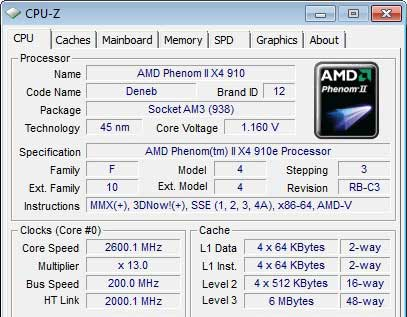 AMD Phenom II X4 910e 2.6GHz 65W TDP Processor