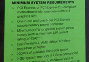 NVIDIA GeForce GTX 480 Video Card Requires 600W