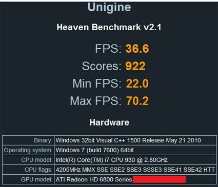 AMD Radeon HD 6800 Series Video Card Heaven Benchmark