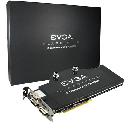 EVGA GeForce GTX 590 Classified Water Cooled Video Card for $879