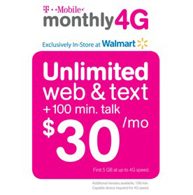 T-Mobile offers a pre-paid plan with unlimited data and text and minutes talk for just $30 per month, for which many customers may be qualified, if they can find it.