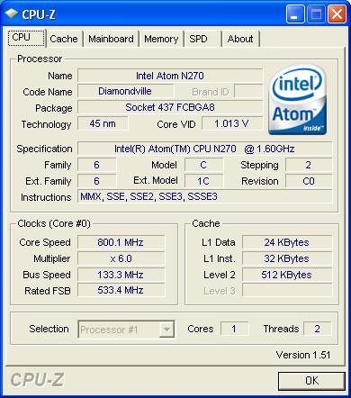 MSI Wind U100 CPU-Z