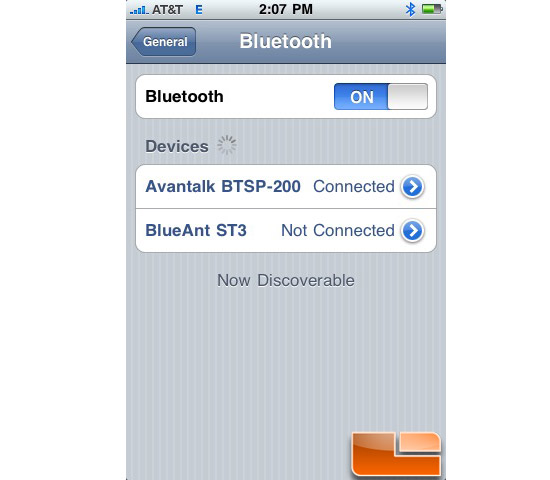 Avantalk BTSP-200 Paired with iPhone