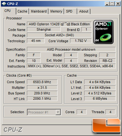 AMD TWKR Processor in CPU-Z at 6582MHz