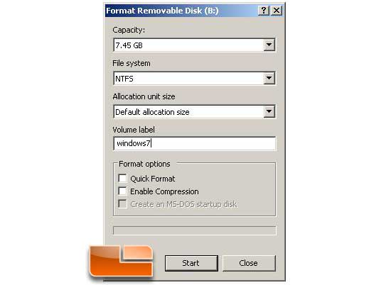 Install Windows 7 from a USB Key XP drive prep step 4