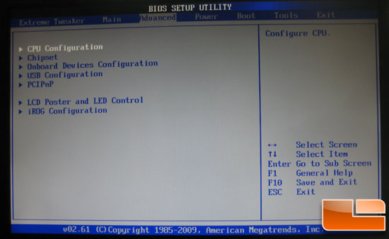 Asus Crosshair III Formula Advanced BIOS Settings
