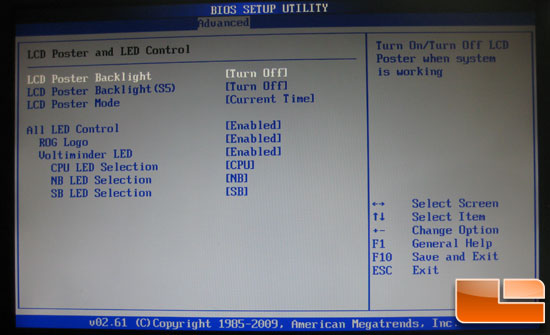 Asus Crosshair III Formula LCD and LED Poster BIOS settings