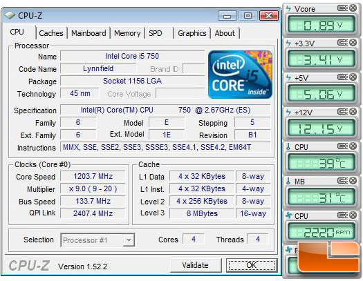 Intel Core i5 750 Processor Temperature at Idle