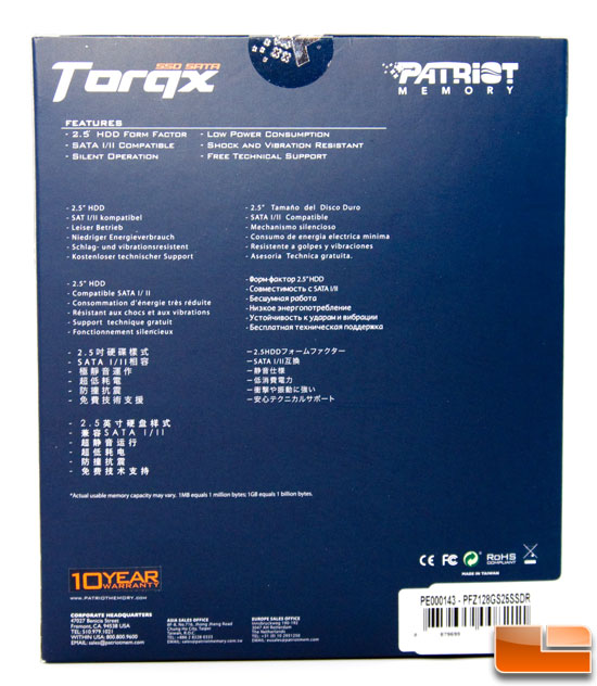 Patriot Torqx 128GB Box Rear