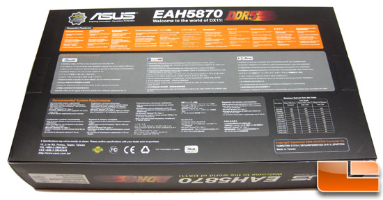ASUS Radeon HD EAH 5870 Video Card Retail Box Back