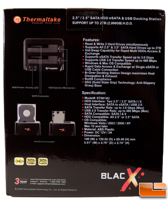 Thermaltake Blacx Duet Dock - Box Rear