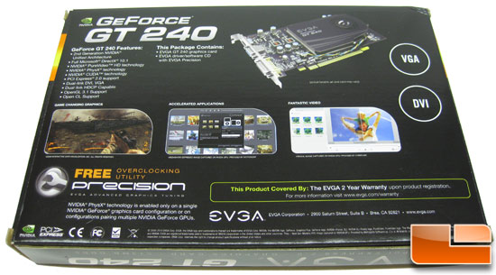 EVGA GeForce GT 240 SuperClocked GDDR5 Video Card Retail Box Back
