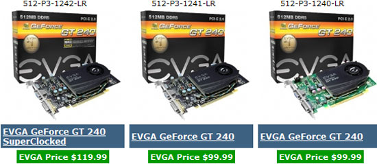 EVGA GeForce GT 240 Video Cards