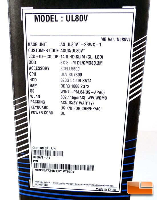 ASUS UL80V Box Label