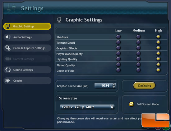 Spore Game Settings