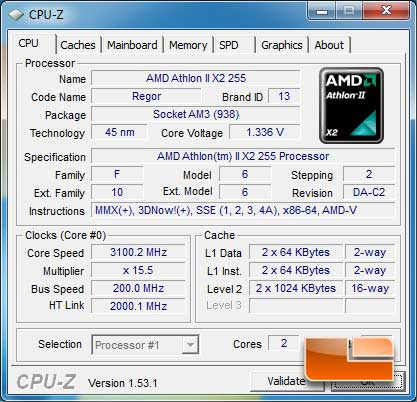 AMD Athlon II X2 255 Dual Core 3.1GHz Processor Review