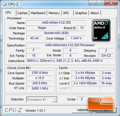 AMD Athlon II X2 255 CPUz Auto settings overclock