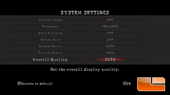 Resident Evil 5 High Settings