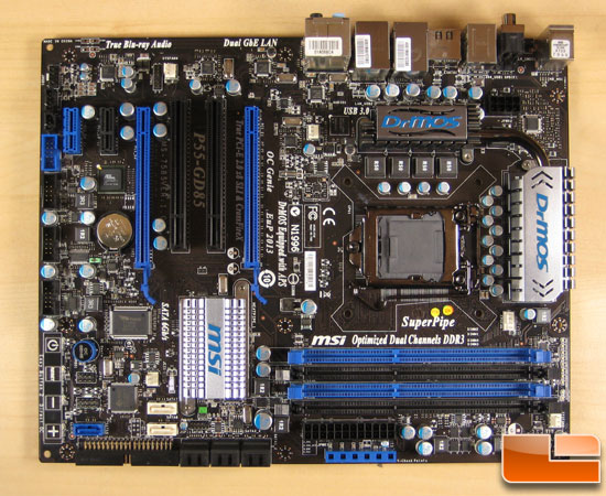MSI p55 GD-85 Board from Above