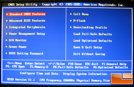 MSI P55-GD85 BIOS Main Menu