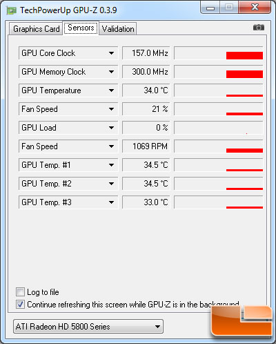 ATI Radeon HD 5830 1GB Idle Temperature