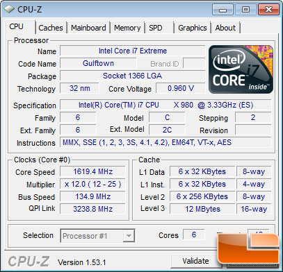 Intel Core i7-980X Extreme Processor Idle State