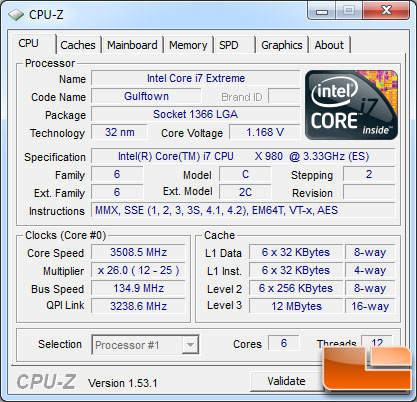 Intel Core i7-980X Extreme Processor Load State