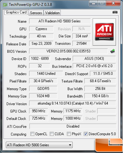 ASUS EAH5850 TOP Overclock Default