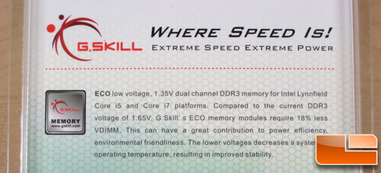 G.Skill DDR3-1600C7 ECO 1.35vdimm Packaging