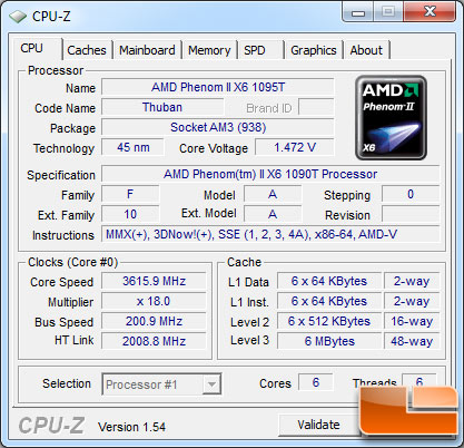 AMD Phenom II X6 1095T Processor Turbo Core