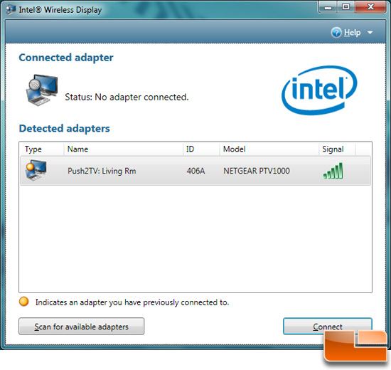 Intel WiDi Connected