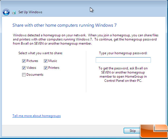 Windows 7 Homegroup Network