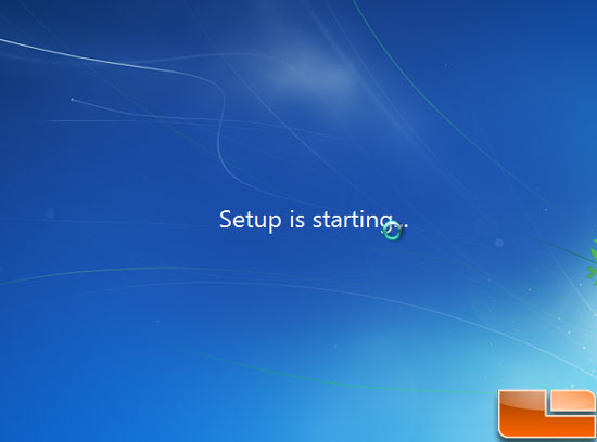 Windows 7 Install Starting
