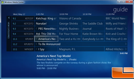 Windows 7 Media Center Live TV Guide