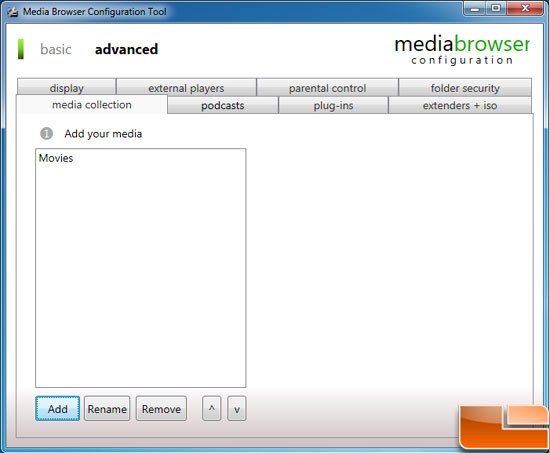 Windows 7 Media Browser Config