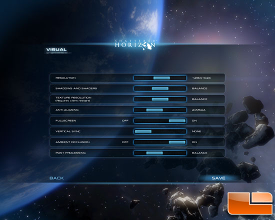 Shattered Horizon Settings