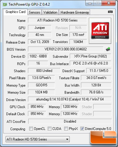 Stock XFX Radeon HD 5770 GPUz Screenshot