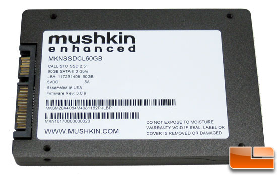 Mushkin Callisto 60GB SSD Back