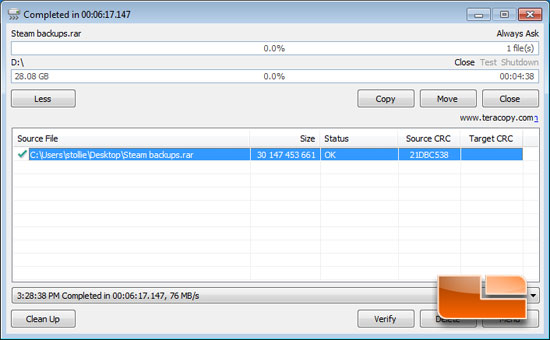 Teracopy Real World File Transfers