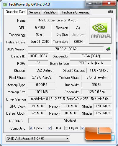 EVGA GeForce GTX 465 CPUz