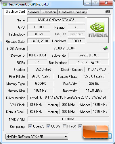 Galaxy GeForce GTX 465 Over clocking CPUz=