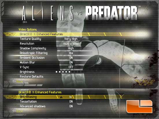 Aliens Vs Predator DirectX 11 Settings
