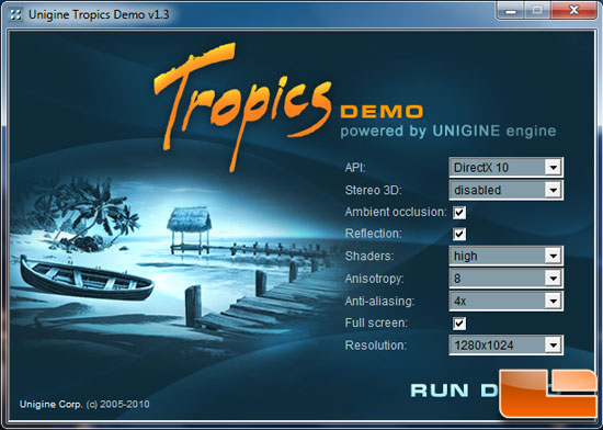 Unigine Tropics 1.3 Settings