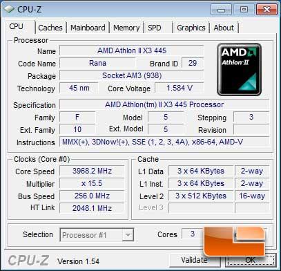 AMD Athlon II X3 445 Overclocked CPUz