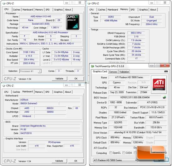 AMD Athlon II X3 445 System Settings