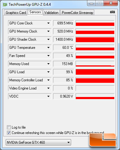 ASUS ENGTX460 Top 768MB Video Card Load Temperature Testing Results