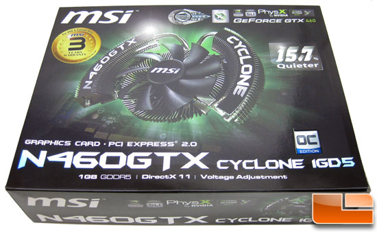 MSI N460GTX Cyclone 1GB GDDR5 OC Video Card Retail Box Front