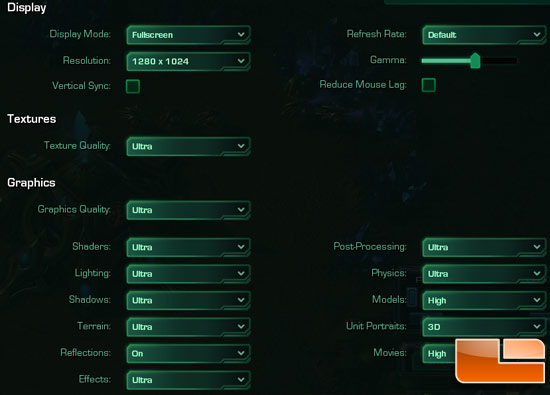 StarCraft II: Wings of Liberty Settings