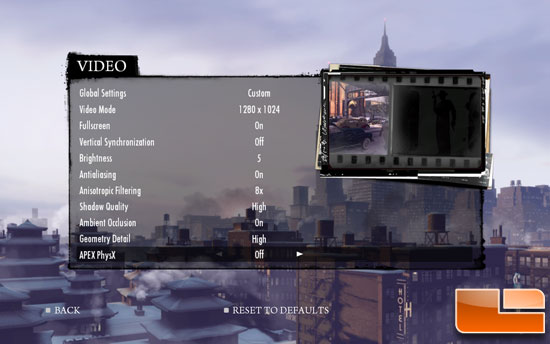 Mafia II Demo Settings