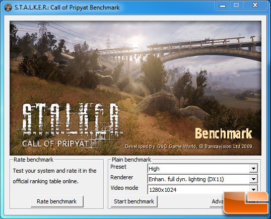 S.T.A.L.K.E.R: Call of Pripyat Benchmark Settings